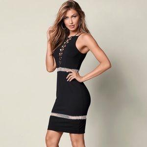 Venus Bodycon Lace-up Black Dress